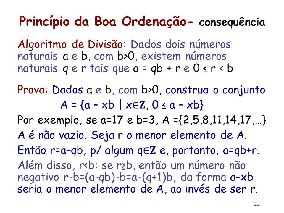 22 Princípio da Boa Ordenação- consequência Algoritmo de Divisão: Dados dois números naturais a e b, com b>0, existem números naturais q e r tais que