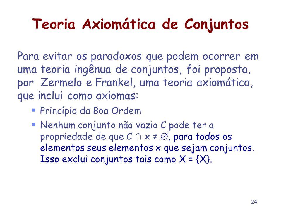 24 Teoria Axiomática de Conjuntos Para evitar os paradoxos que podem ocorrer em uma teoria ingênua de conjuntos, foi proposta, por Zermelo e Frankel,