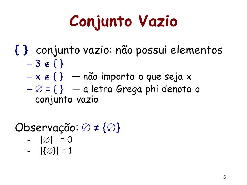 6 Conjunto Vazio { } conjunto vazio: não possui elementos – 3 { } – x { } não importa o que seja x – = { } a letra Grega phi denota o conjunto vazio O