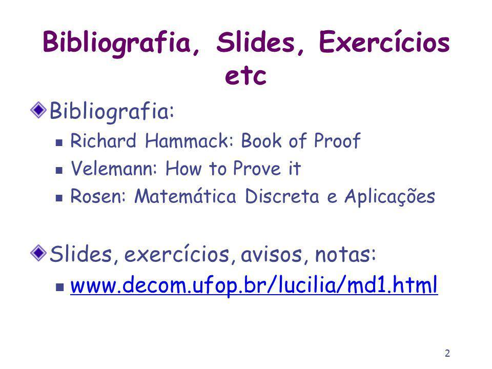 2 Bibliografia, Slides, Exercícios etc Bibliografia: Richard Hammack: Book of Proof Velemann: How to Prove it Rosen: Matemática Discreta e Aplicações