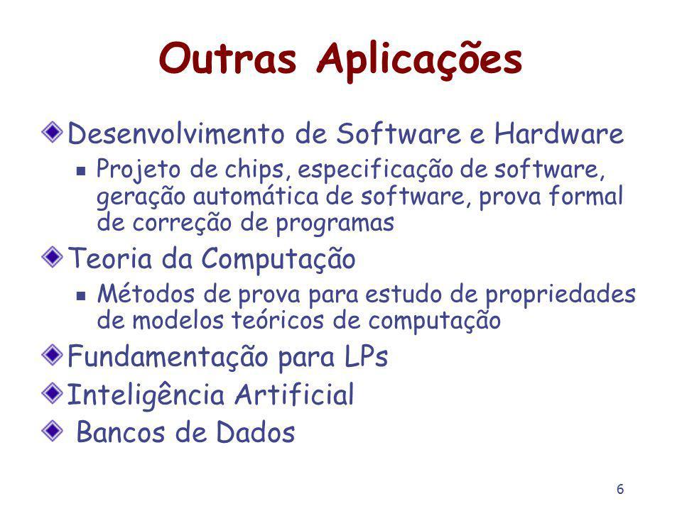 6 Outras Aplicações Desenvolvimento de Software e Hardware Projeto de chips, especificação de software, geração automática de software, prova formal d
