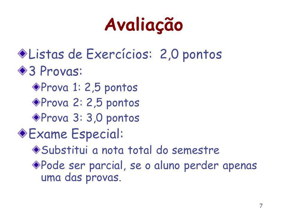 7 Avaliação Listas de Exercícios: 2,0 pontos 3 Provas: Prova 1: 2,5 pontos Prova 2: 2,5 pontos Prova 3: 3,0 pontos Exame Especial: Substitui a nota to