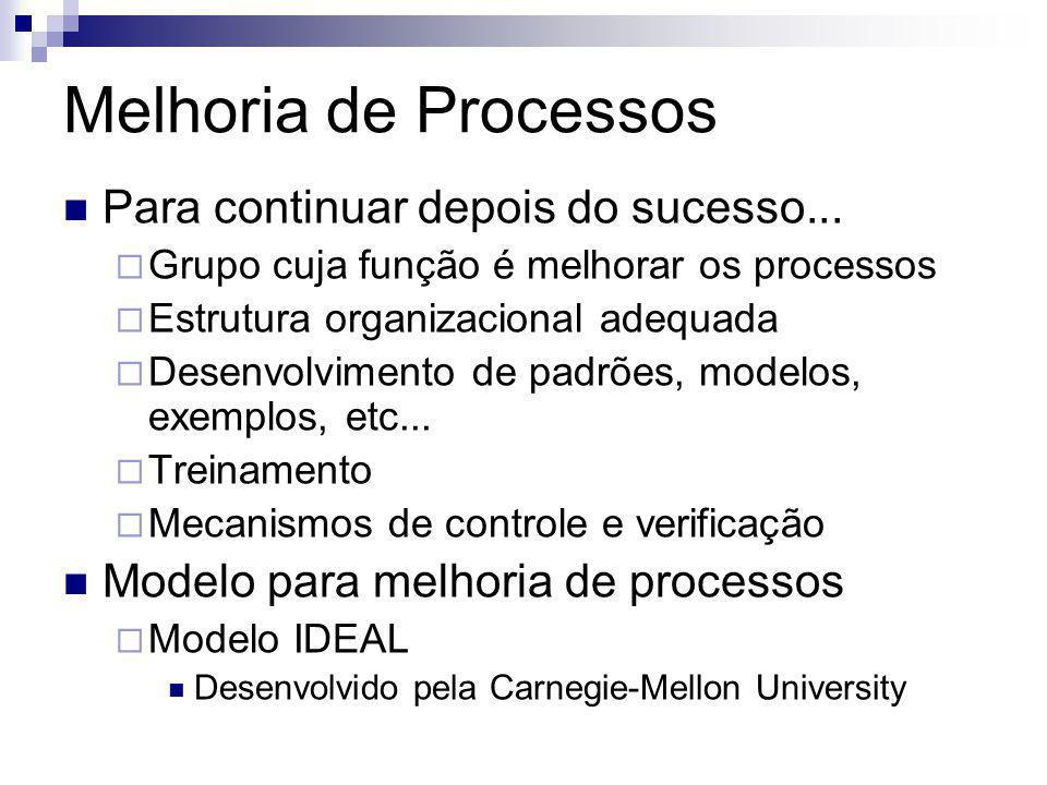 Melhoria de Processos Para continuar depois do sucesso... Grupo cuja função é melhorar os processos Estrutura organizacional adequada Desenvolvimento