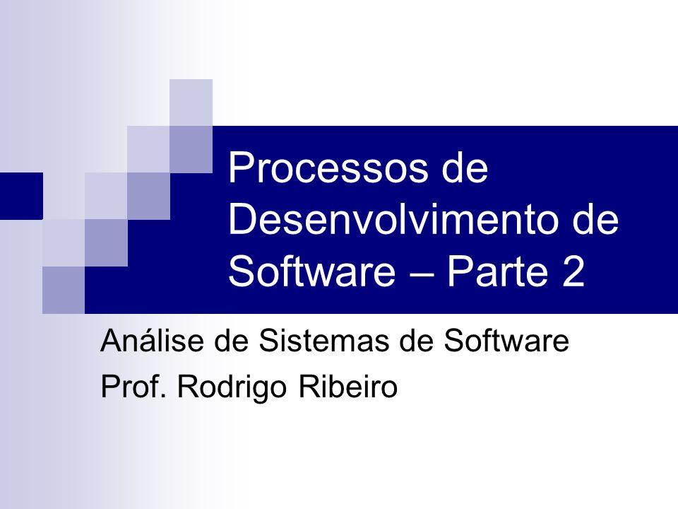 Processos de Desenvolvimento de Software – Parte 2 Análise de Sistemas de Software Prof. Rodrigo Ribeiro