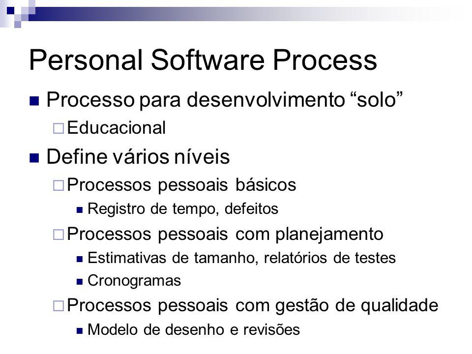 Personal Software Process Processo para desenvolvimento solo Educacional Define vários níveis Processos pessoais básicos Registro de tempo, defeitos P
