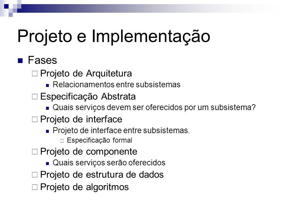 Projeto e Implementação Fases Projeto de Arquitetura Relacionamentos entre subsistemas Especificação Abstrata Quais serviços devem ser oferecidos por