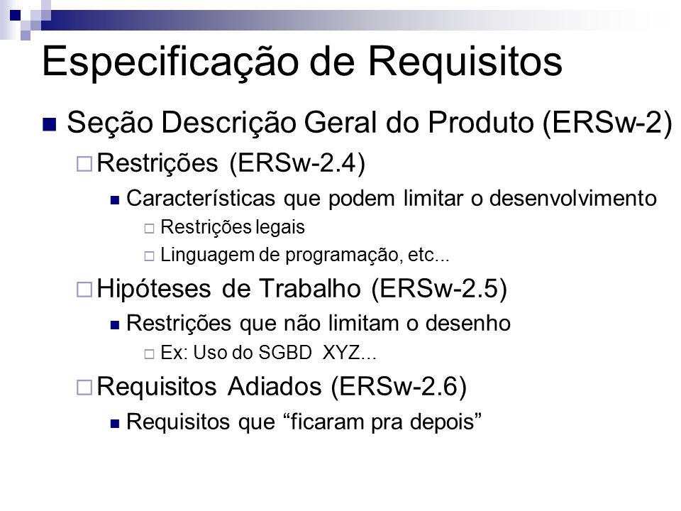 Especificação de Requisitos Seção Descrição Geral do Produto (ERSw-2) Restrições (ERSw-2.4) Características que podem limitar o desenvolvimento Restrições legais Linguagem de programação, etc...