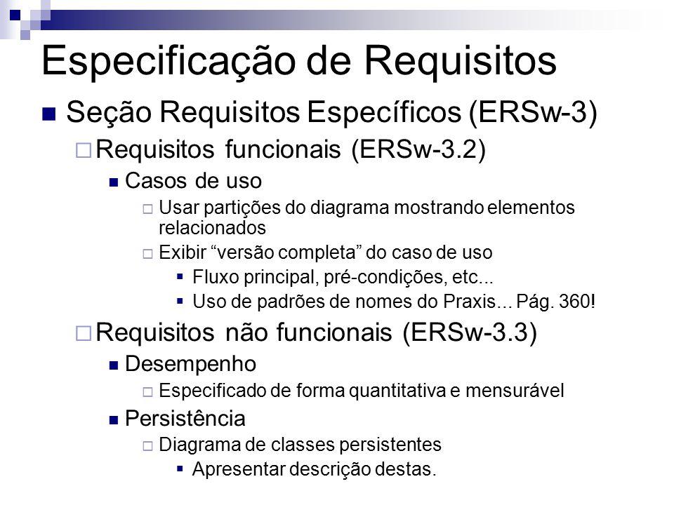 Especificação de Requisitos Seção Requisitos Específicos (ERSw-3) Requisitos funcionais (ERSw-3.2) Casos de uso Usar partições do diagrama mostrando elementos relacionados Exibir versão completa do caso de uso Fluxo principal, pré-condições, etc...
