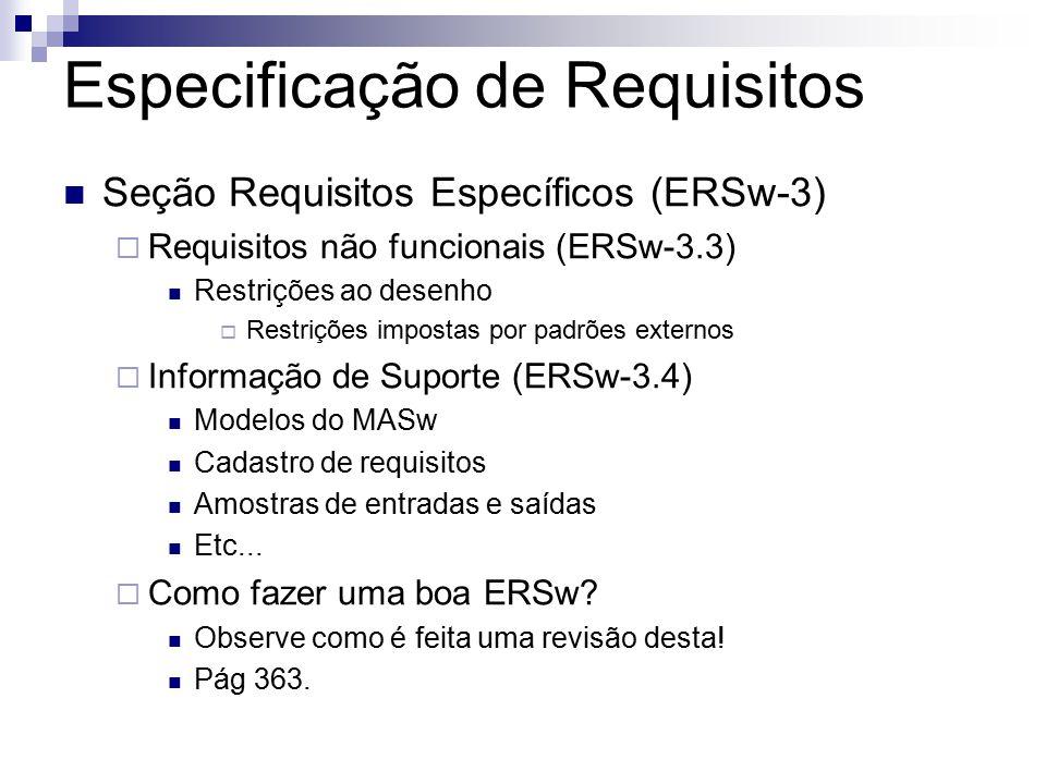 Especificação de Requisitos Seção Requisitos Específicos (ERSw-3) Requisitos não funcionais (ERSw-3.3) Restrições ao desenho Restrições impostas por padrões externos Informação de Suporte (ERSw-3.4) Modelos do MASw Cadastro de requisitos Amostras de entradas e saídas Etc...