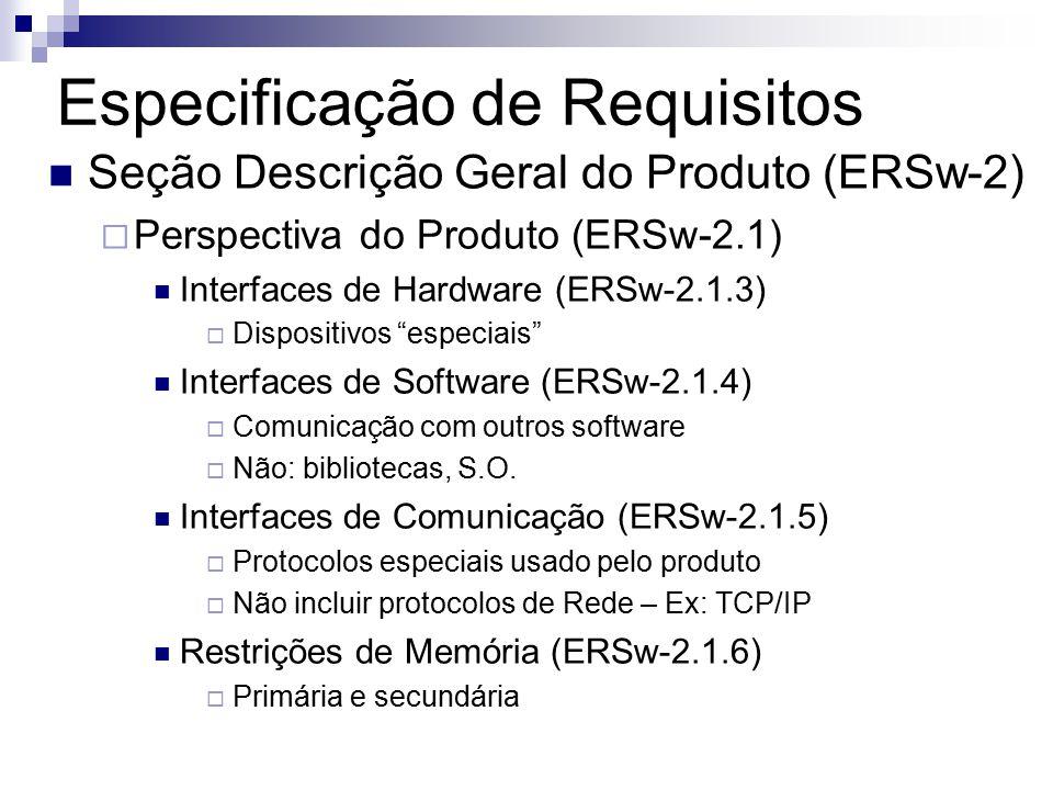 Especificação de Requisitos Seção Descrição Geral do Produto (ERSw-2) Perspectiva do Produto (ERSw-2.1) Interfaces de Hardware (ERSw-2.1.3) Dispositivos especiais Interfaces de Software (ERSw-2.1.4) Comunicação com outros software Não: bibliotecas, S.O.