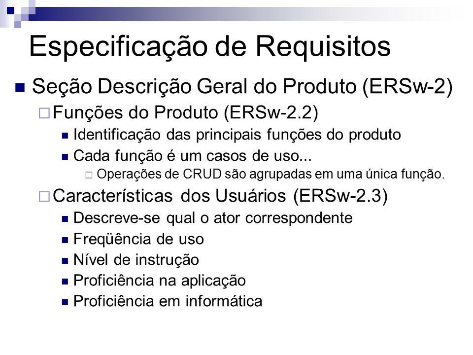 Especificação de Requisitos Seção Descrição Geral do Produto (ERSw-2) Funções do Produto (ERSw-2.2) Identificação das principais funções do produto Cada função é um casos de uso...