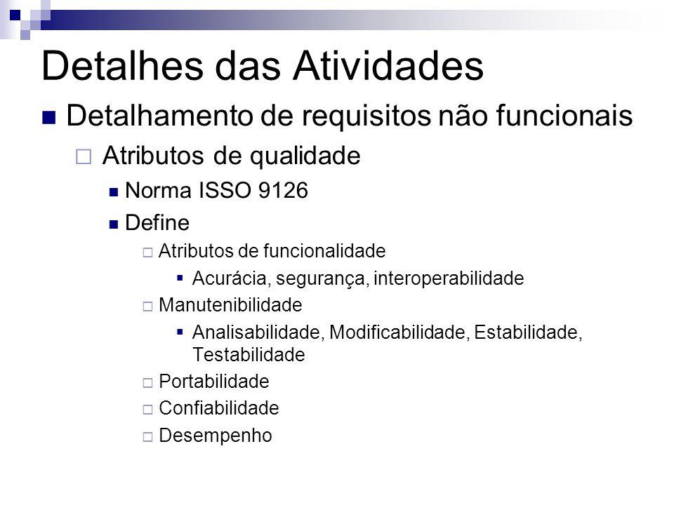 Detalhes das Atividades Detalhamento de requisitos não funcionais Atributos de qualidade Norma ISSO 9126 Define Atributos de funcionalidade Acurácia,