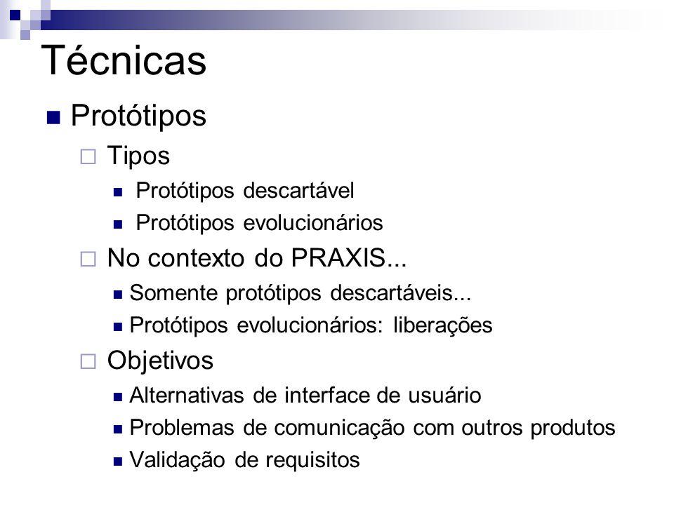 Técnicas Protótipos Tipos Protótipos descartável Protótipos evolucionários No contexto do PRAXIS... Somente protótipos descartáveis... Protótipos evol