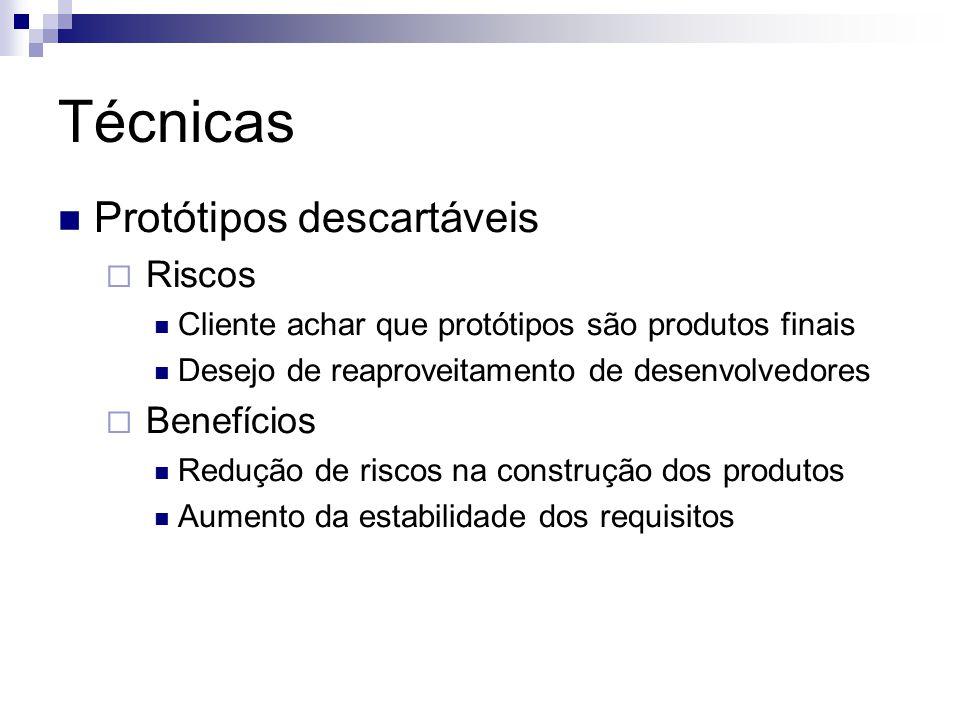 Técnicas Protótipos descartáveis Riscos Cliente achar que protótipos são produtos finais Desejo de reaproveitamento de desenvolvedores Benefícios Redu