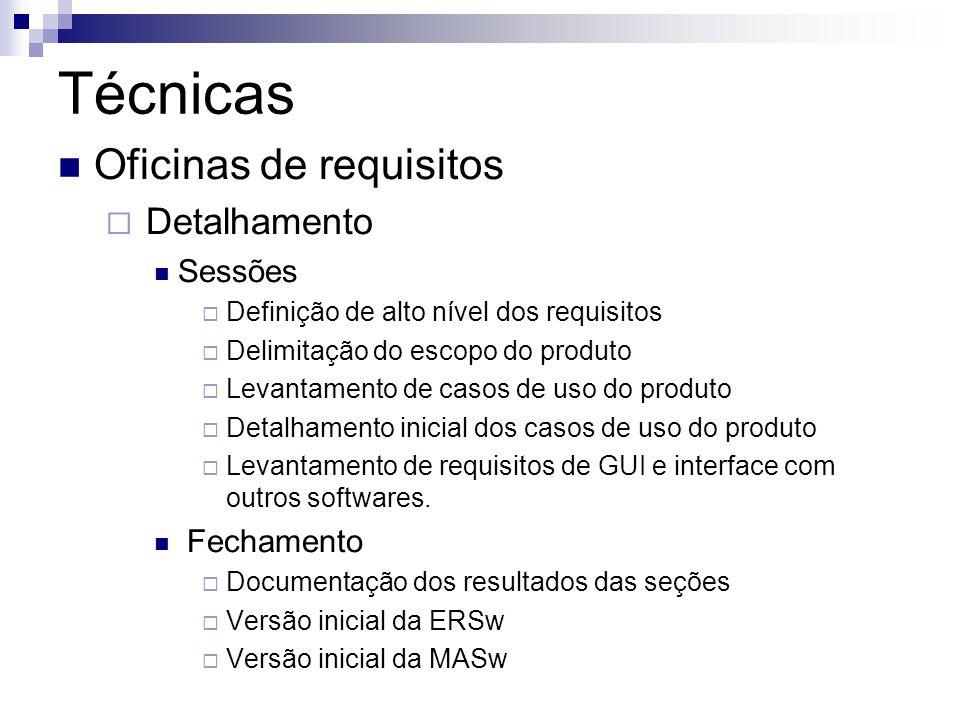 Técnicas Oficinas de requisitos Detalhamento Sessões Definição de alto nível dos requisitos Delimitação do escopo do produto Levantamento de casos de