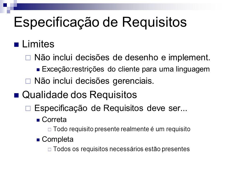 Especificação de Requisitos Limites Não inclui decisões de desenho e implement. Exceção:restrições do cliente para uma linguagem Não inclui decisões g