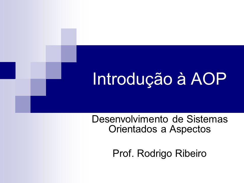 Metodologia AOP Só uma metodologia não é útil Java: Implementação de OOP Definição da linguagem e ferramentas Implementação de AOP Precisamos de uma linguagem Sintaxe e semântica definidas Como implementar interesses transversais.