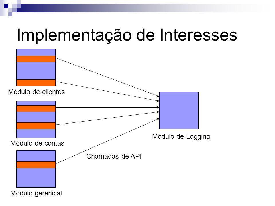 Implementação de Interesses Módulo de clientes Módulo de contas Módulo gerencial Módulo de Logging Chamadas de API