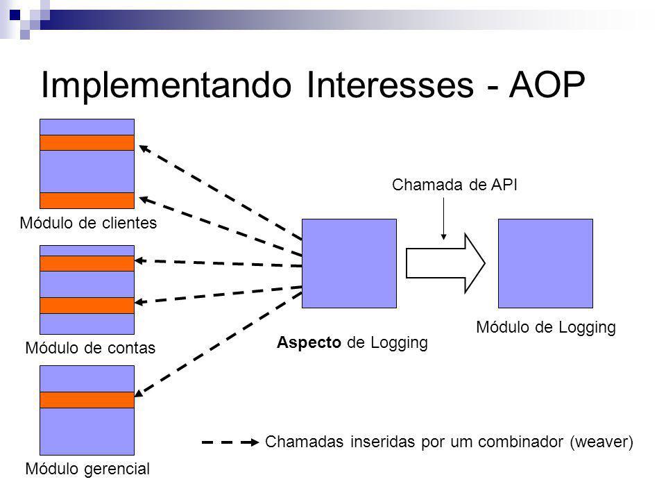 Implementando Interesses - AOP Módulo de clientes Módulo de contas Módulo gerencial Módulo de Logging Chamada de API Aspecto de Logging Chamadas inseridas por um combinador (weaver)