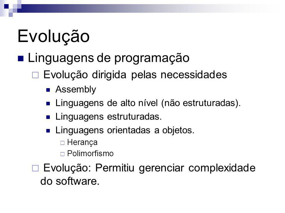 Evolução Linguagens de programação Evolução dirigida pelas necessidades Assembly Linguagens de alto nível (não estruturadas).