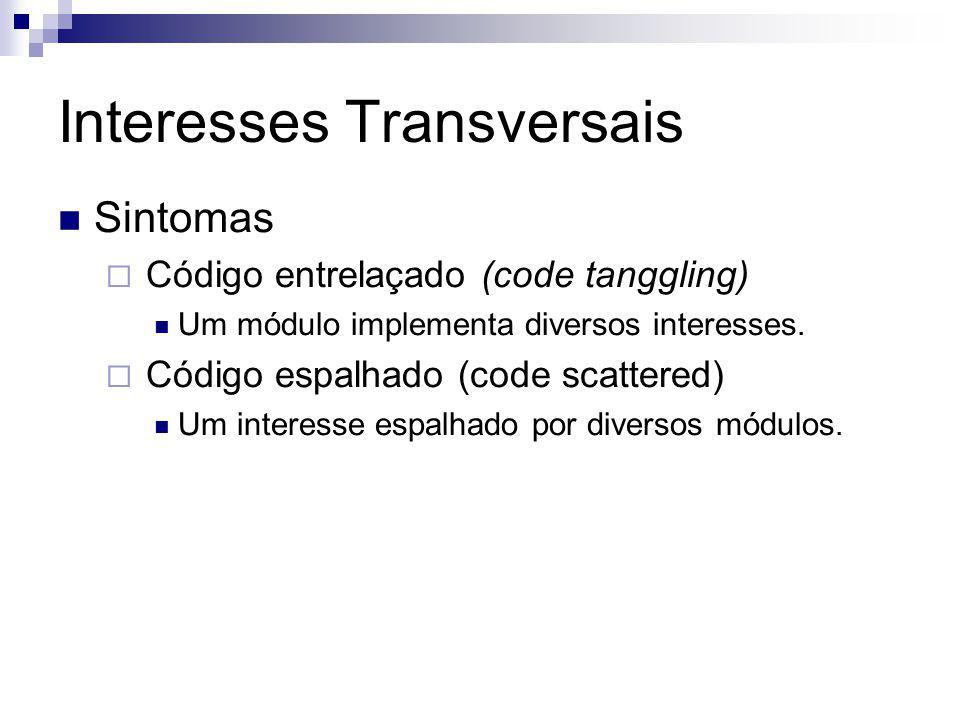 Interesses Transversais Sintomas Código entrelaçado (code tanggling) Um módulo implementa diversos interesses. Código espalhado (code scattered) Um in
