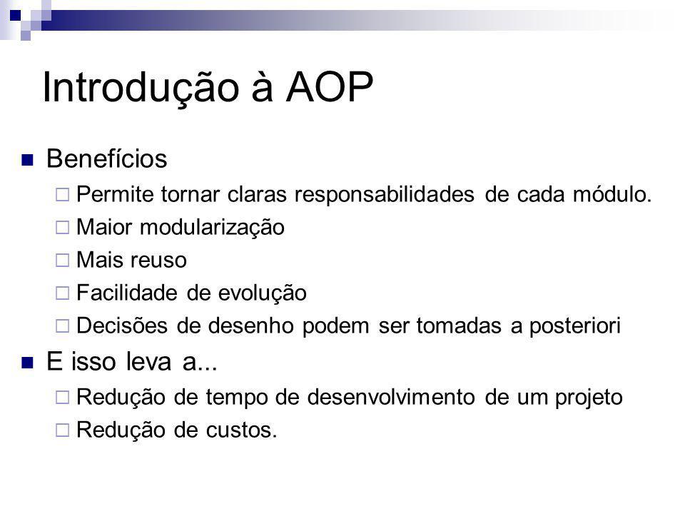 Introdução à AOP Benefícios Permite tornar claras responsabilidades de cada módulo. Maior modularização Mais reuso Facilidade de evolução Decisões de