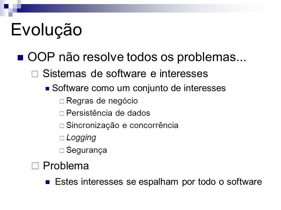 Evolução OOP não resolve todos os problemas... Sistemas de software e interesses Software como um conjunto de interesses Regras de negócio Persistênci