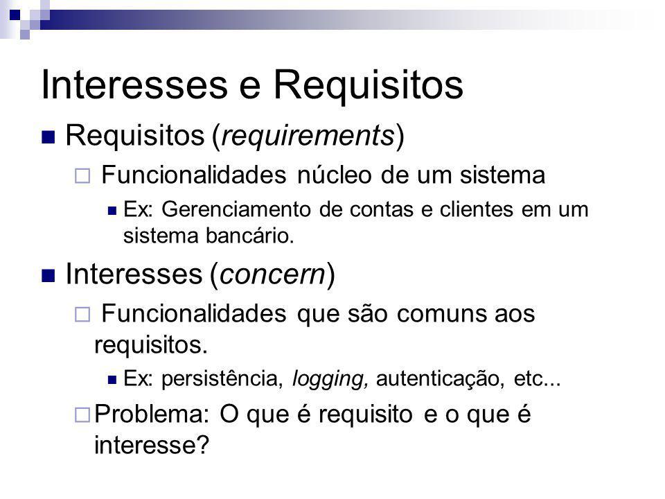 Interesses e Requisitos Requisitos (requirements) Funcionalidades núcleo de um sistema Ex: Gerenciamento de contas e clientes em um sistema bancário.