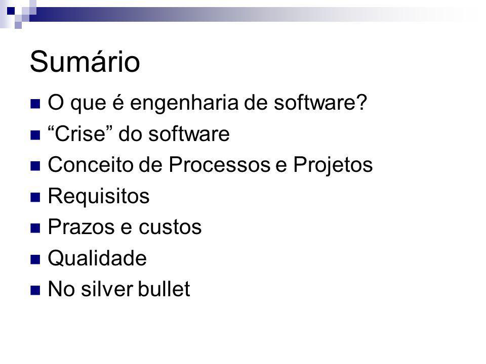 Sumário O que é engenharia de software? Crise do software Conceito de Processos e Projetos Requisitos Prazos e custos Qualidade No silver bullet