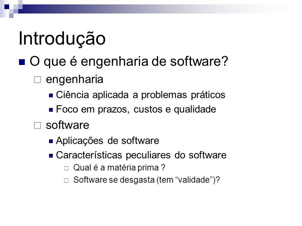 Introdução O que é engenharia de software? engenharia Ciência aplicada a problemas práticos Foco em prazos, custos e qualidade software Aplicações de