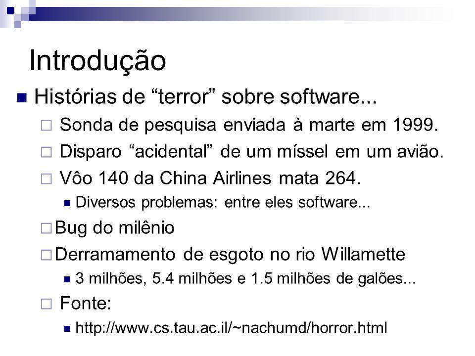 Introdução Histórias de terror sobre software... Sonda de pesquisa enviada à marte em 1999. Disparo acidental de um míssel em um avião. Vôo 140 da Chi