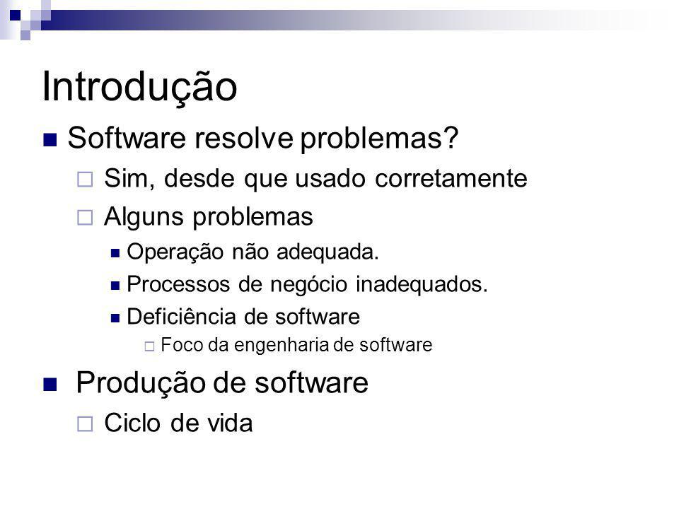 Introdução Software resolve problemas? Sim, desde que usado corretamente Alguns problemas Operação não adequada. Processos de negócio inadequados. Def