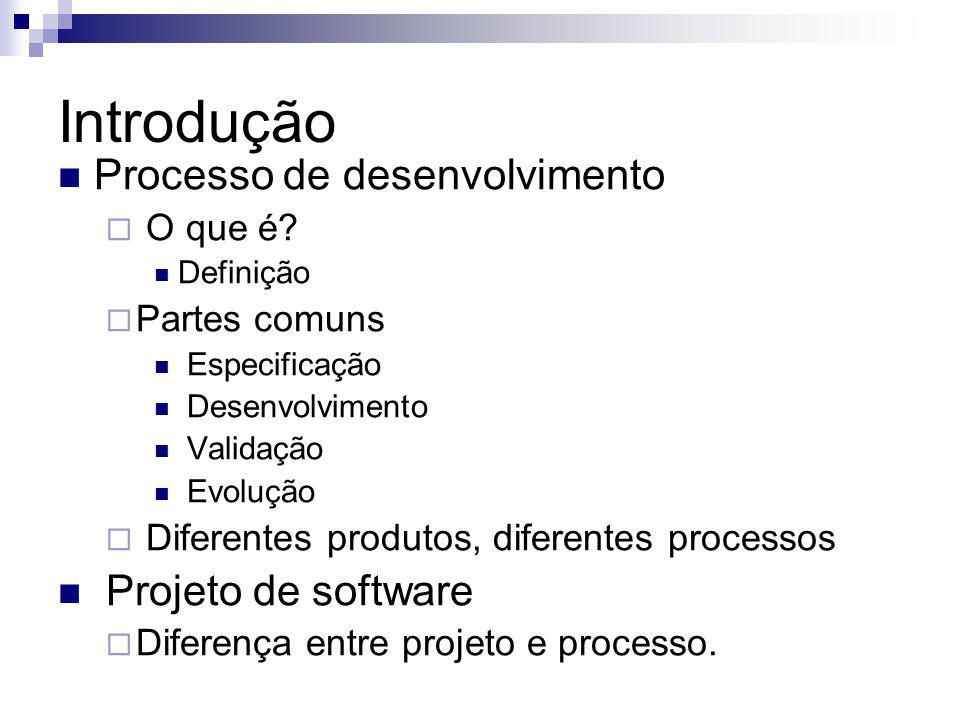 Introdução Processo de desenvolvimento O que é? Definição Partes comuns Especificação Desenvolvimento Validação Evolução Diferentes produtos, diferent