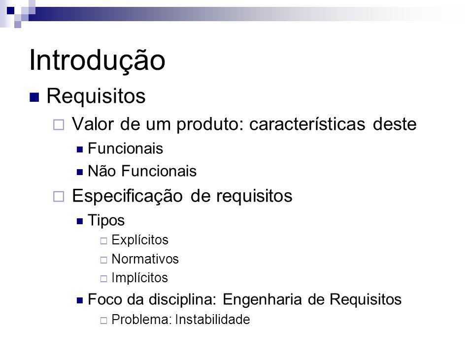 Introdução Requisitos Valor de um produto: características deste Funcionais Não Funcionais Especificação de requisitos Tipos Explícitos Normativos Imp