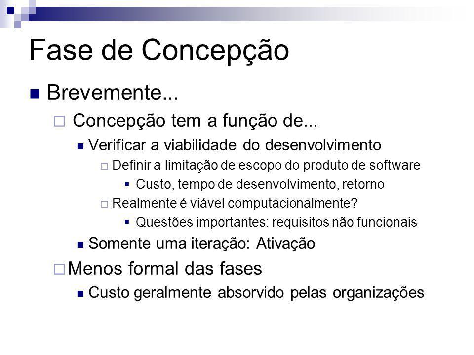 Fase de Concepção Brevemente... Concepção tem a função de... Verificar a viabilidade do desenvolvimento Definir a limitação de escopo do produto de so