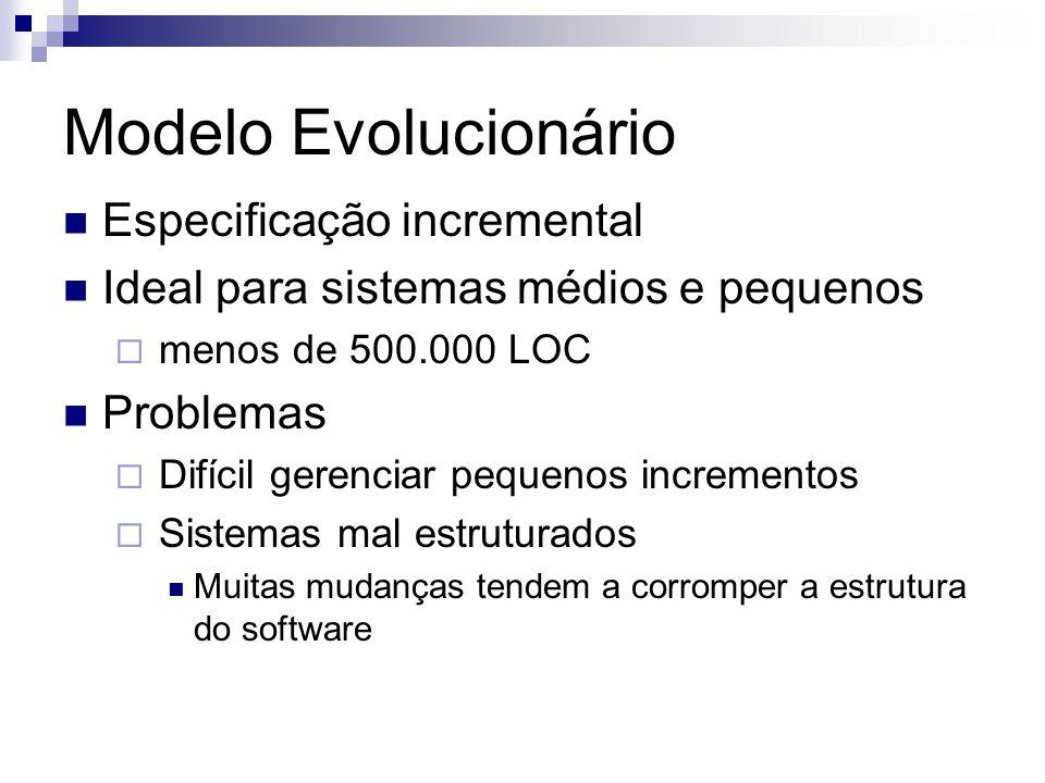 Modelo Evolucionário Especificação incremental Ideal para sistemas médios e pequenos menos de 500.000 LOC Problemas Difícil gerenciar pequenos increme