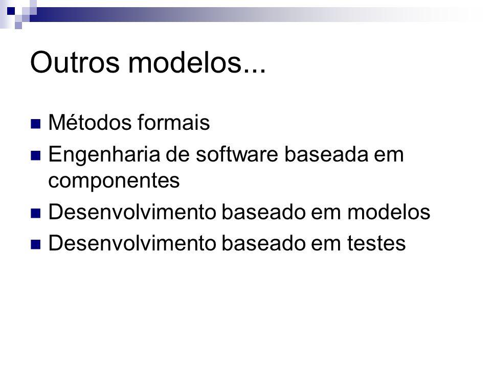 Outros modelos... Métodos formais Engenharia de software baseada em componentes Desenvolvimento baseado em modelos Desenvolvimento baseado em testes