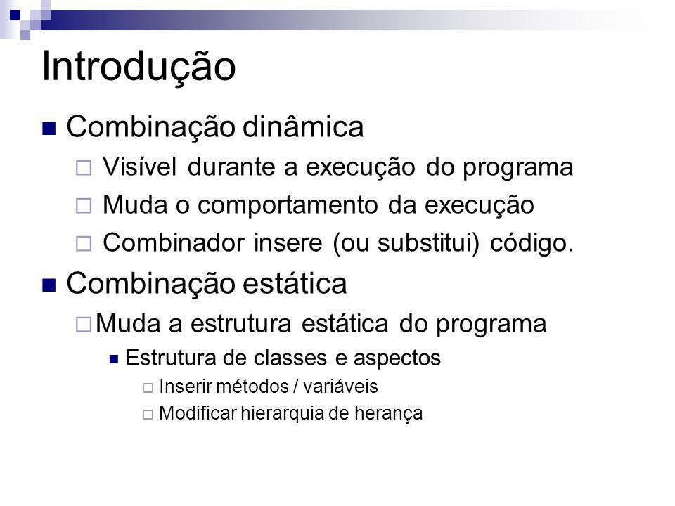 Introdução Combinação dinâmica Visível durante a execução do programa Muda o comportamento da execução Combinador insere (ou substitui) código. Combin