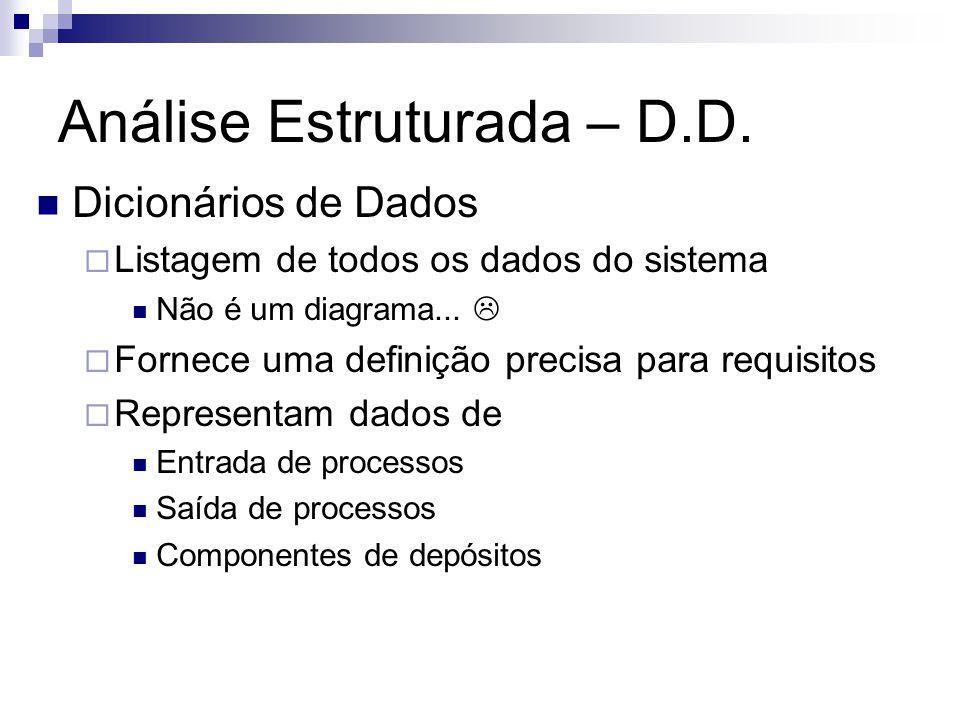 Análise Estruturada – D.D. Dicionários de Dados Listagem de todos os dados do sistema Não é um diagrama... Fornece uma definição precisa para requisit