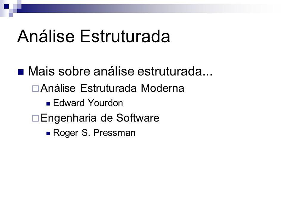 Análise Estruturada Mais sobre análise estruturada... Análise Estruturada Moderna Edward Yourdon Engenharia de Software Roger S. Pressman