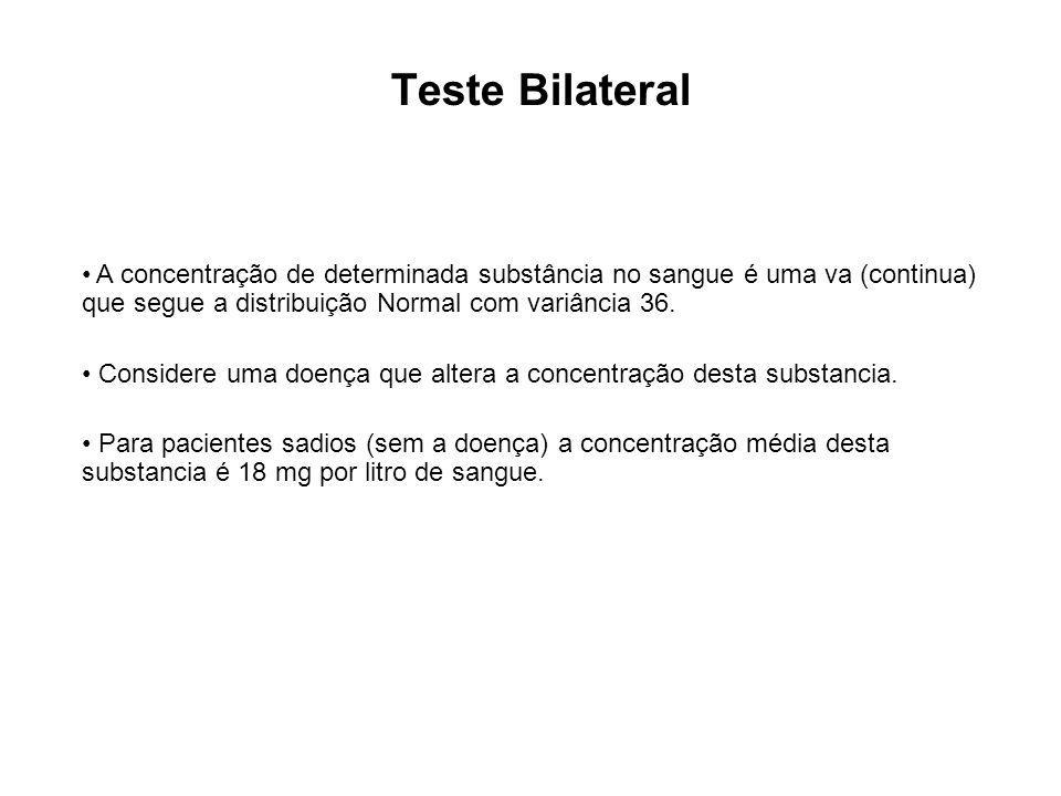 Teste Bilateral A concentração de determinada substância no sangue é uma va (continua) que segue a distribuição Normal com variância 36. Considere uma