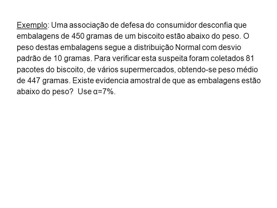 Exemplo: Uma associação de defesa do consumidor desconfia que embalagens de 450 gramas de um biscoito estão abaixo do peso. O peso destas embalagens s