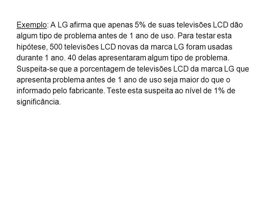 Exemplo: A LG afirma que apenas 5% de suas televisões LCD dão algum tipo de problema antes de 1 ano de uso. Para testar esta hipótese, 500 televisões