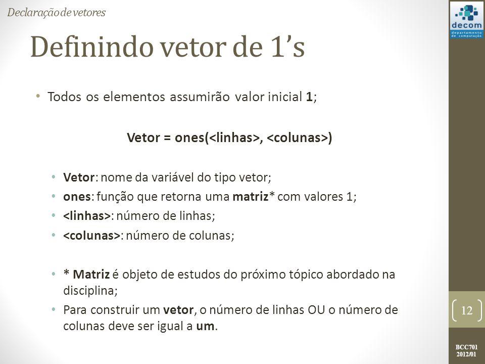 BCC701 2012/01 Definindo vetor de 1s Todos os elementos assumirão valor inicial 1; Vetor = ones(, ) Vetor: nome da variável do tipo vetor; ones: funçã