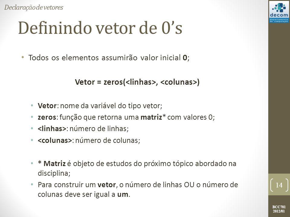 BCC701 2012/01 Definindo vetor de 0s Todos os elementos assumirão valor inicial 0; Vetor = zeros(, ) Vetor: nome da variável do tipo vetor; zeros: fun