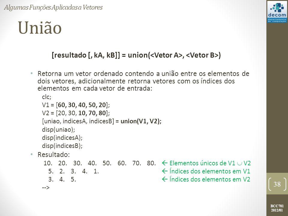 BCC701 2012/01 União [resultado [, kA, kB]] = union(, ) Retorna um vetor ordenado contendo a união entre os elementos de dois vetores, adicionalmente