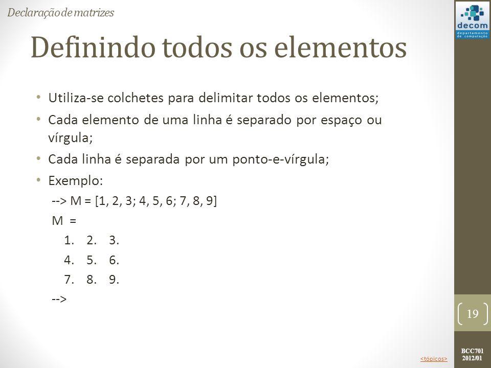 BCC701 2012/01 Definindo todos os elementos Utiliza-se colchetes para delimitar todos os elementos; Cada elemento de uma linha é separado por espaço o