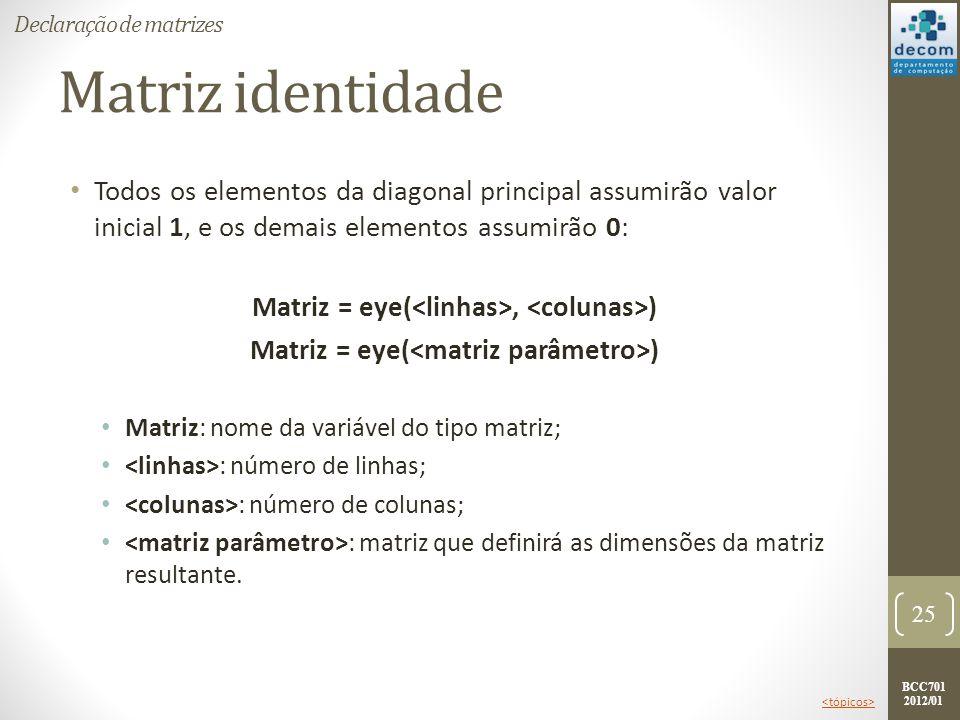 BCC701 2012/01 Matriz identidade Todos os elementos da diagonal principal assumirão valor inicial 1, e os demais elementos assumirão 0: Matriz = eye(,