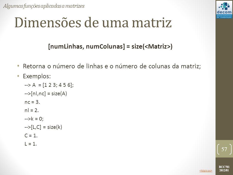 BCC701 2012/01 Dimensões de uma matriz [numLinhas, numColunas] = size( ) Retorna o número de linhas e o número de colunas da matriz; Exemplos: --> A =