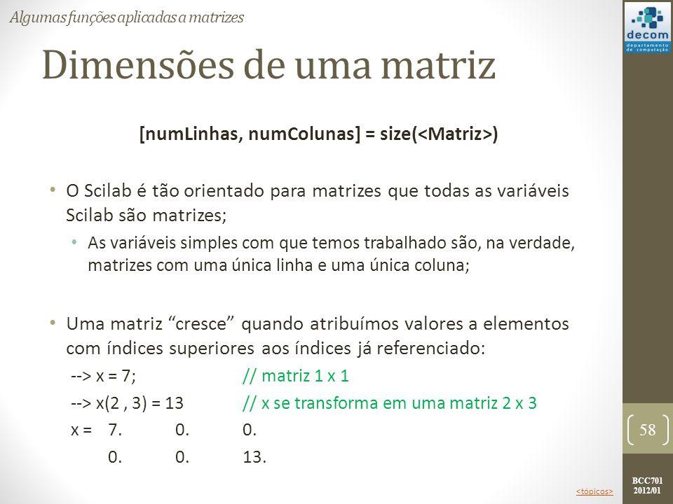 BCC701 2012/01 Dimensões de uma matriz [numLinhas, numColunas] = size( ) O Scilab é tão orientado para matrizes que todas as variáveis Scilab são matr